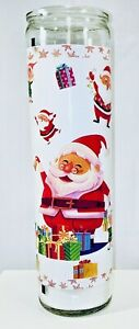 Santa & Elfs Tall Jar Candle 8oz Medium Unscented White Holiday Christmas Gifts