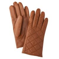 Womens Quilted Tan Leather Gloves