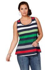 Sheego Top Tank Shirt Stripe print pattern Multicoloured Tunic T-Shirt 306649