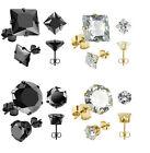 BOUCLES D'OREILLES Homme Femme NOIR PLAQUE OR CLOUS 4/6/8/10 MM Diamant ZIRCON