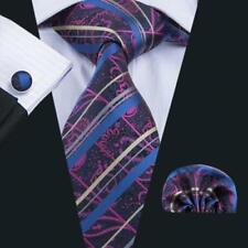 100% Pure Silk Neck Tie Cuff-links & Handkerchief Set Purple Blue Gold Pattern