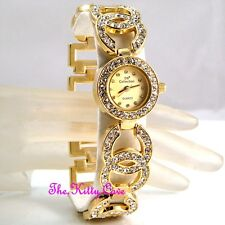 zLadies Gold Plated Designer Dress Double Kiss Bling Watch W/ Swarovski Crystals