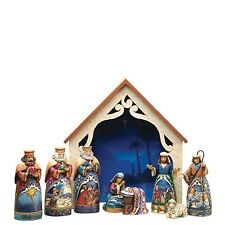 NEW JIM SHORE HEARTWOOD CREEK CHRISTMAS AWAY IN A MANGER MINI NATIVITY 9 PC SET
