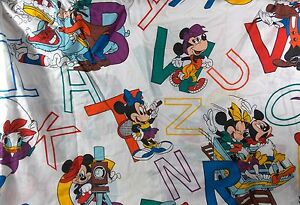 Disney Vintage Dundee Mickey Mouse ABC Fitted Crib Sheet Toddler Bed USA