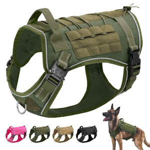 No Pull Tactical Dog Harness Reflective Military Molle Training Vest Front Clip