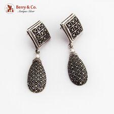 Marcasite Rhomb Teardrop Form Dangle Earrings Sterling Silver