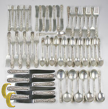 Repousse By S. Kirk & Son Sterling Silver Beautiful Flatware Set of 64 Pieces