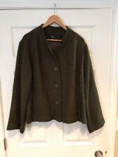 Eileen Fisher Green Basket Weave Wool Jacket, Size Medium NWT!
