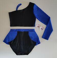 (#61) Age 7/9 Freestyle Dance Asymmetric Crop Top/Half Skirted Briefs Black/Blue