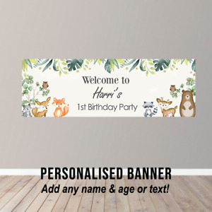Personalised Birthday Banner Party Poster Safari Zoo Woodland Theme Animals