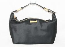 KATE SPADE Small Black Nylon Baguette Purse Gold Logo Plate Evening Bag