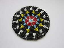 """Beaded Rosette 3"""" Round Leather Sewing Regalia Crafting Tribal Native Design 5C"""