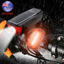 USB Rechargeable Bicycle Bike Light W/Horn Solar Powered Waterproof Rear Light