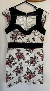 French Connection floral Sweetheart Dress Size 12 Business Party Fully Lined