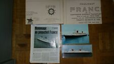 lot 2 plans complets paquebot France CGT + 2 cartes postales + hommage magazine