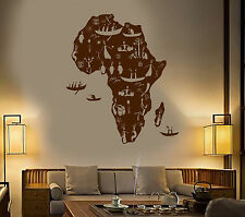 Vinyl Wall Decal Africa Continent African Natives People Map Stickers (1467ig)