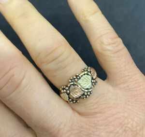 Heavy, Bold, Solid Gold Black Hills Gold Ring Band. Rose, Yellow & White Gold.