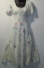 Dress Fits L XL 1X Ivory Tan Roses Butterflies Corset Lace Up Chest NWT 1323