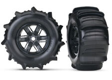 Traxxas X-Maxx Black Left Right Wheels With Paddle Tires Foam Inserts TRA7773