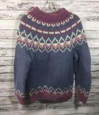 ALVA KNIT Womens Thick Wool Sweater MEDIUM Iceland Fair Isle Mock Turtleneck EUC