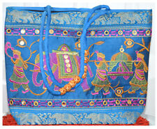 Embroidered Wedding Procession Tote Bag, Shoulder Bag, Hand Bag in Turquoise