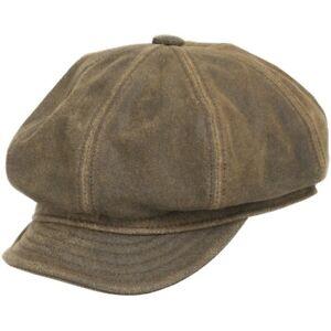 Ultrafino ENGLISH NEWSBOY ANTIQUE Leather Ivy Cap Hat