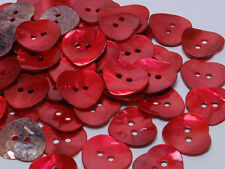 B336 Crimson Mother of Pearl Craft Sewing DIY Heart Shell Buttons 30pcs 20mm