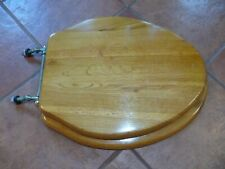 Rare! Vintage Hard Wood Toilet Seat Cover w/Brass Hard Ware