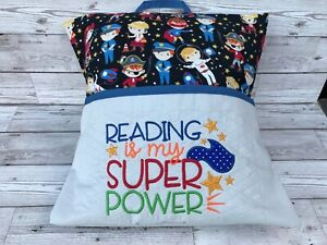 Super Power Reading Pillow Cushion Travel Book Pocket  Personalised Child's