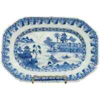 Antique Canton Chinese Export Porcelain Transferware Village Platter