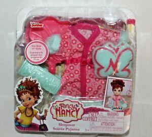 "Disney Fancy Nancy Sleepover Pajama Set for 10"" Dolls Robe Pillow Bag Brush"