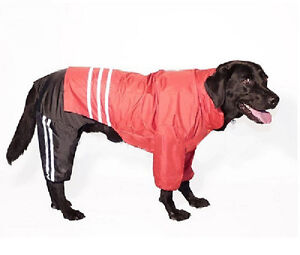Set - 3pcs PANTS + COAT + HOOD Raincoat For LARGE Big Dog Waterproof Reflective