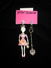 BETSEY JOHNSON WHITE LACE SKULL GIRL WITH PINK DRESS & BLING DANGLE EARRINGS