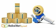 6 Rolls 3 inch by 110 yards 1.5 Mil Acrylic Shipping Tape with 3 Inch Dispenser