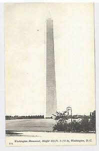 WASHINGTON, D.C. 997-Washington Monument, Height  (Undivided Back (c. 1901-1907)
