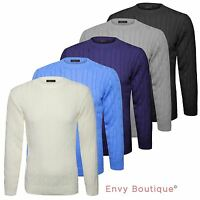 Mens Plain Chunky Cable Knitted Crew Neck Top Knitwear Jumper Sweater