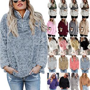 Womens Fleece Fur Winter Warm Teddy Bear Jacket Coat Hoodie Outwear Tops Warm