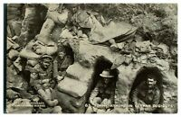 Antique WW1 military printed postcard Tommy at home in German Dug Outs