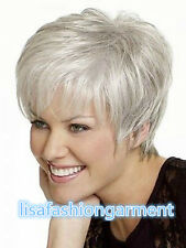 2017 New Beautiful Women lady Wig Short Straight Silver Grey Synthetic Hair Wigs