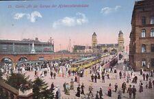 AK Cöln Köln gel. 1915 Feldpost Rampe der Hohenzollernbrücke Straßenbahn