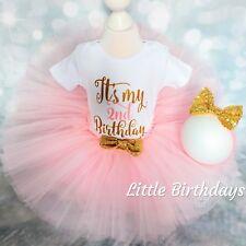 Baby Girl 2nd Birthday Outfit Party Dress Photo Shoot Cake Smash Tutu Toddler