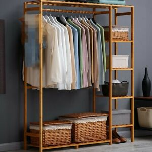Wooden Clothes Garment Hanging Stand Shoe Rack Display Storage Shelf w/ Curtain
