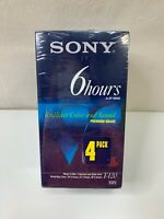 Sony 6 Hour Blank High Quality VHS Tapes Premium Grade T-120 4 Pack Sealed USA