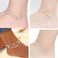 Women 925 Silver plated Ankle Bracelet Anklet Foot Jewelry Chain Bangle Gift