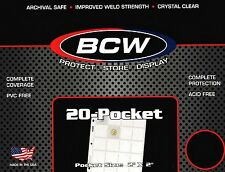 50 BCW 20 Pocket Pages for Coin Holders or Slides  PRO20T  Binder Sheets