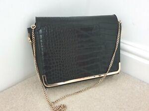 Dune Beautiful Black Patent Mock Croc & Gold Chain Hand Bag