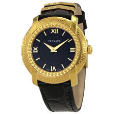 Versace DV25 Black Dial Black Leather Ladies Watch VAM03 0016
