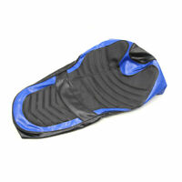 Black Blue Faux Leather Motorcycle Seat Saddle Cover Cushion Protector for FX
