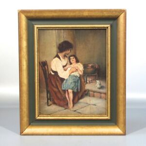 Antique French Oil Painting, Interior Scene, Mother & Daughter, Woman, Fireplace