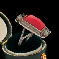 Antique Vintage Deco Mid Century 925 Sterling Silver TAXCO Red Onyx Ring S 6 4g